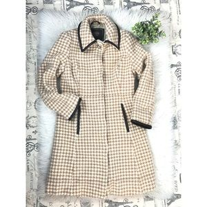 Coach Ivory Tan Houndstooth Coat Size XS